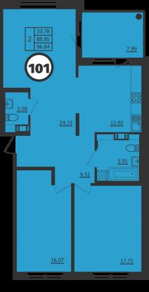 Планировка Двухкомнатная квартира площадью 89 кв.м в ЖК «Образцовый квартал 2»