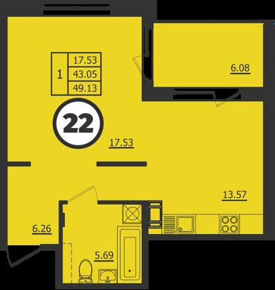 Планировка Однокомнатная квартира площадью 43 кв.м в ЖК «Образцовый квартал 2»